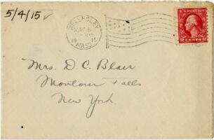 Letter from Eleanor Blair, Wellesley, Massachusetts, to Mrs. D.C. Blair, Montour Falls, New York, 1915 May 4
