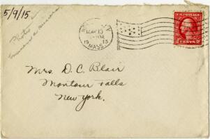 Letter from Eleanor Blair, Wellesley, Massachusetts, to Mrs. D.C. Blair, Montour Falls, New York, 1915 May 9