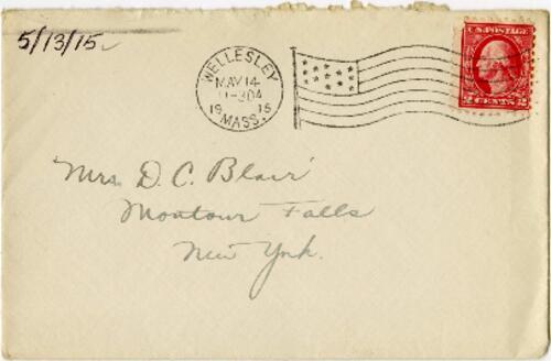 Letter from Eleanor Blair, Wellesley, Massachusetts, to Mrs. D.C. Blair, Montour Falls, New York, 1915 May 13