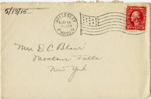 Letter from Eleanor Blair, Wellesley, Massachusetts, to Mrs. D.C. Blair, Montour Falls, New York, 1915 May 13