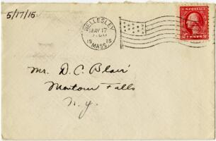 Letter from Eleanor Blair, Wellesley, Massachusetts, to Mr. D.C. Blair, Montour Falls, New York, 1915 May 17