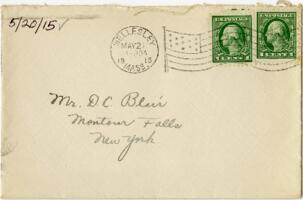 Letter from Eleanor Blair, Wellesley, Massachusetts, to Mr. D.C. Blair, Montour Falls, New York, 1915 May 20