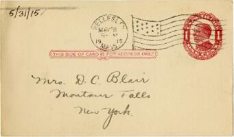 Postcard from Eleanor Blair, Wellesley, Massachusetts, to Mrs. D.C. Blair, Montour Falls, New York, 1915 May 31
