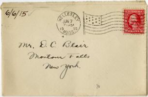 Letter from Eleanor Blair, Wellesley, Massachusetts, to Mr. D.C. Blair, Montour Falls, New York, 1915 June 6