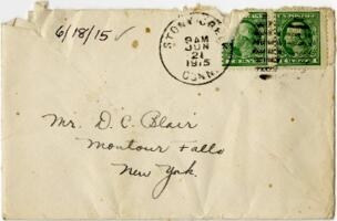 Letter from Eleanor Blair, Stony Creek, Connecticut, to Mr. D.C. Blair, Montour Falls, New York, 1915 June 18