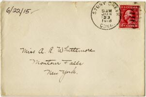 Letter from Eleanor Blair, Stony Creek, Connecticut, to Mrs. A.R. Whittemore, Montour Falls, New York, 1915 June 22