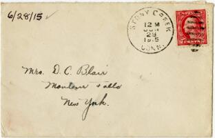 Letter from Eleanor Blair, Stony Creek, Connecticut, to Mrs. D.C. Blair, Montour Falls, New York, 1915 June 28