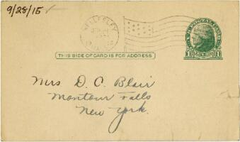 Postcard from Eleanor Blair, Wellesley, Massachusetts, to Mrs. D.C. Blair, Montour Falls, New York, 1915 September 28