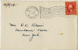Letter from Eleanor Blair, Wellesley, Massachusetts, to Mr. D.C. Blair, Montour Falls, New York, 1915 October 11