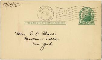 Postcard from Eleanor Blair, Wellesley, Massachusetts, to Mrs. D.C. Blair, Montour Falls, New York, 1915 October 14