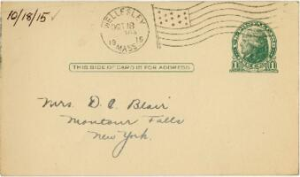 Postcard from Eleanor Blair, Wellesley, Massachusetts, to Mrs. D.C. Blair, Montour Falls, New York, 1915 October 18
