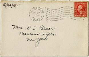 Letter from Eleanor Blair, Wellesley, Massachusetts , to Mrs. D.C. Blair, Montour Falls, New York, 1915 October 24