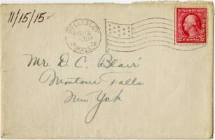 Letter from Eleanor Blair, Wellesley, Massachusetts, to Mr. D.C. Blair, Montour Falls, New York, 1915 November 15
