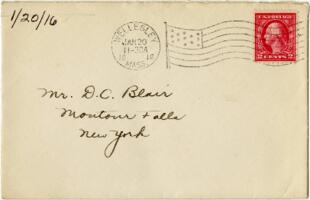 Letter from Eleanor Blair, Wellesely, Massachusetts, to Mr. D.C. Blair, Montour Falls, New York, 1916 January 20
