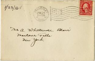 Letter from Eleanor Blair, Wellesley, Massachusetts, to Mr. A.W. Blair, Montour Falls, New York, 1916 January 23