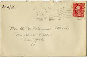 Letter from Eleanor Blair, Wellesley, Massachusetts, to A.W. Blair, Montour Falls, New York, 1916 February 8