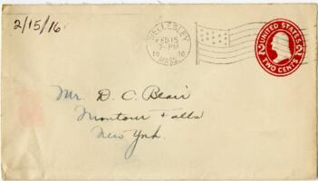 Letter from Eleanor Blair, Wellesley, Massachusetts, to Mr. D.C. Blair, Montour Falls, New York, 1916 February 15