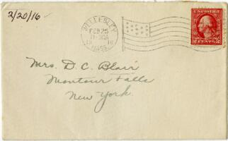 Letter from Eleanor Blair, Wellesley, Massachusetts, to Mrs. D.C. Blair, Montour Falls, New York, 1916 February 20