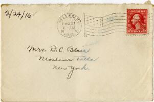 Letter from Eleanor Blair, Wellesley, Massachusetts, to Mrs. D.C. Blair, Montour Falls, New York, 1916 February 24