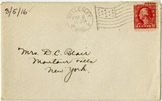 Letter from Eleanor Blair, Wellesley, Massachusetts, to Mrs. D.C. Blair, Montour Falls, New York, 1916 March 5