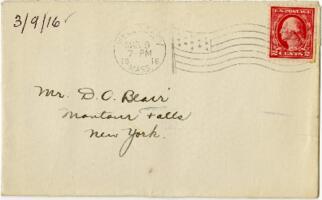 Letter from Eleanor Blair, Wellesley, Massachusetts, to Mr. D.C. Blair, Montour Falls, 1916 March 9