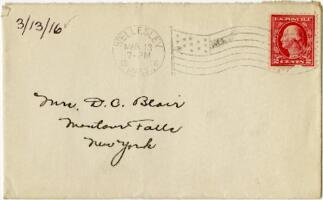 Letter from Eleanor Blair, Wellesley, Massachusetts, to Mrs. D.C. Blair, Montour Falls, New York, 1916 March 13