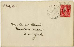 Letter from Eleanor Blair, Wellesley, Massachusetts, to Mr. A.W. Blair, Montour Falls, New York, 1916 March 14