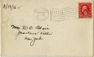 Letter from Eleanor Blair, Wellesley, Massachusetts, to Mr. D.C. Blair, Montour Falls, New York, 1916 March 19
