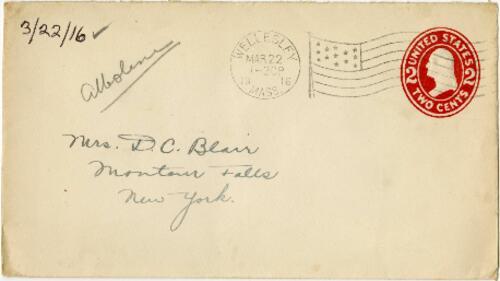 Letter from Eleanor Blair, Wellesley, Massachusetts, to Mrs. D.C. Blair, Montour Falls, New York, 1916 March 22