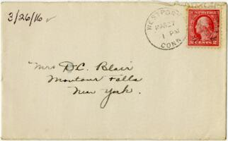Letter from Eleanor Blair, Westport, Connecticut, to Mrs. D.C. Blair, Montour Falls, New York, 1916 March 26