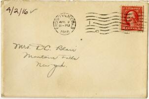 Letter from Eleanor Blair, Brooklyn, New York, to Mrs. D.C. Blair, Montour Falls, New York, 1916 April 2