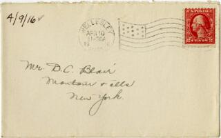 Letter from Eleanor Blair, Wellesley, Massachusetts, to Mr. D.C. Blair, Montour Falls, New York, 1916 April 9