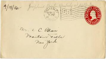 Letter from Eleanor Blair, Wellesley, Massachusetts, to Mr. D.C. Blair, Montour Falls, New York, 1916 April 15