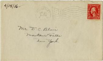 Letter from Eleanor Blair, Wellesley, Massachusetts, to Mr. D.C. Blair, Montour Falls, New York, 1918 April 18