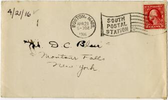 Letter from Eleanor Blair, Wellesley, Massachusetts, to Mr. D.C. Blair, Montour Falls, New York, 1916 April 21