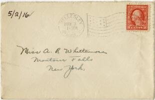 Letter from Eleanor Blair, Wellesley, Massachusetts, to Miss A.R. Wittimore, Montour Falls, New York, 1916 May 2