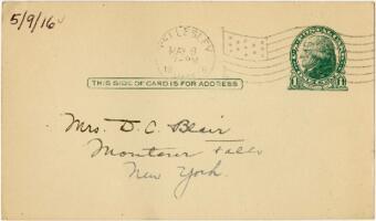 Postcard from Eleanor Blair, Wellesley, Massachusetts, to Mrs. D.C. Blair, Montour Falls, New York, 1916 May 9