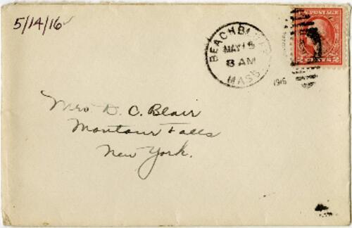 Letter from Eleanor Blair, Back Bay, Massachusetts, to Mrs. D.C. Blair, Montour Falls, New York, 1916 May 14