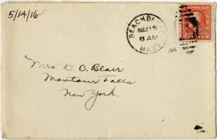 Letter from Eleanor Blair, Back Bay, Massachusetts, to Mrs. D.C. Blair, Montour Falls, New York, 1916 May 14