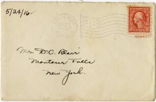 Letter from Eleanor Blair, Wellesley, Massachusetts, to Mr. D.C. Blair, Montour Falls, New York, 1916 May 24