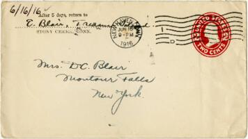 Letter from Eleanor Blair, Stony Creek, Connecticut, to Mrs. D.C. Blair, Montour Falls, New York, 1916 June 16