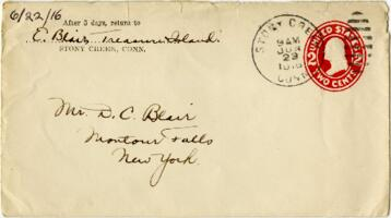 Letter from Eleanor Balir, Stony Creek, Connecticut, to Mr. D.C. Blair, Montour Falls, New York, 1916 June 22