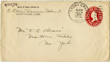 Letter from Eleanor Blair, Stony Creek, Connecticut, to Mr. D.C. Blair, Montour Falls, New York, 1916 June 25