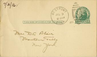 Postcard from Eleanor Blair, Westport, Connecticut, to Mrs. D.C. Blair, Montour Falls, New York, 1916 July 2