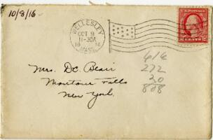 Letter from Eleanor Blair, Wellesley, Massachusetts, to Mrs. D.C. Blair, Montour Falls, New York, 1916 October 8