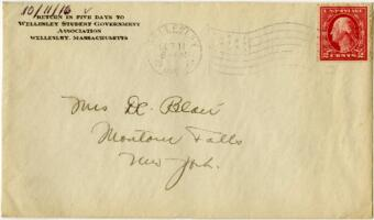Letter from Eleanor Blair, Wellesley, Massachusetts, to Mrs. D.C. Blair, Montour Falls, New York, 1916 October 11