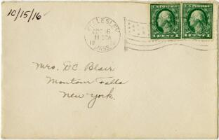 Letter from Eleanor Blair, Wellesley, Massachusetts, to Mrs. D.C. Blair, Montour Falls, New York, 1916 October 15
