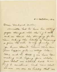 Letter from Eleanor Blair, Wellesley, Massachusetts, to Mr. and Mrs. D.C. Blair, Montour Falls, New York, 1916 October 23