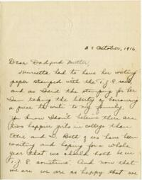 Letter from Eleanor Blair, Wellesley, Massachusetts, to Mr. and Mrs. D.C. Blair, Montour Falls, New York, 1916 October 23