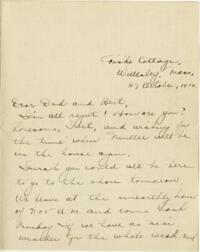 Letter from Eleanor Blair, Wellesley, Massachusetts, to Mr. D.C. Blair, Montour Falls, New York, 1916 October 27
